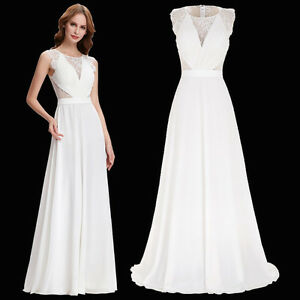 Womens formal long prom ball gown party evening bridesmaid for Ebay wedding dresses size 18 uk