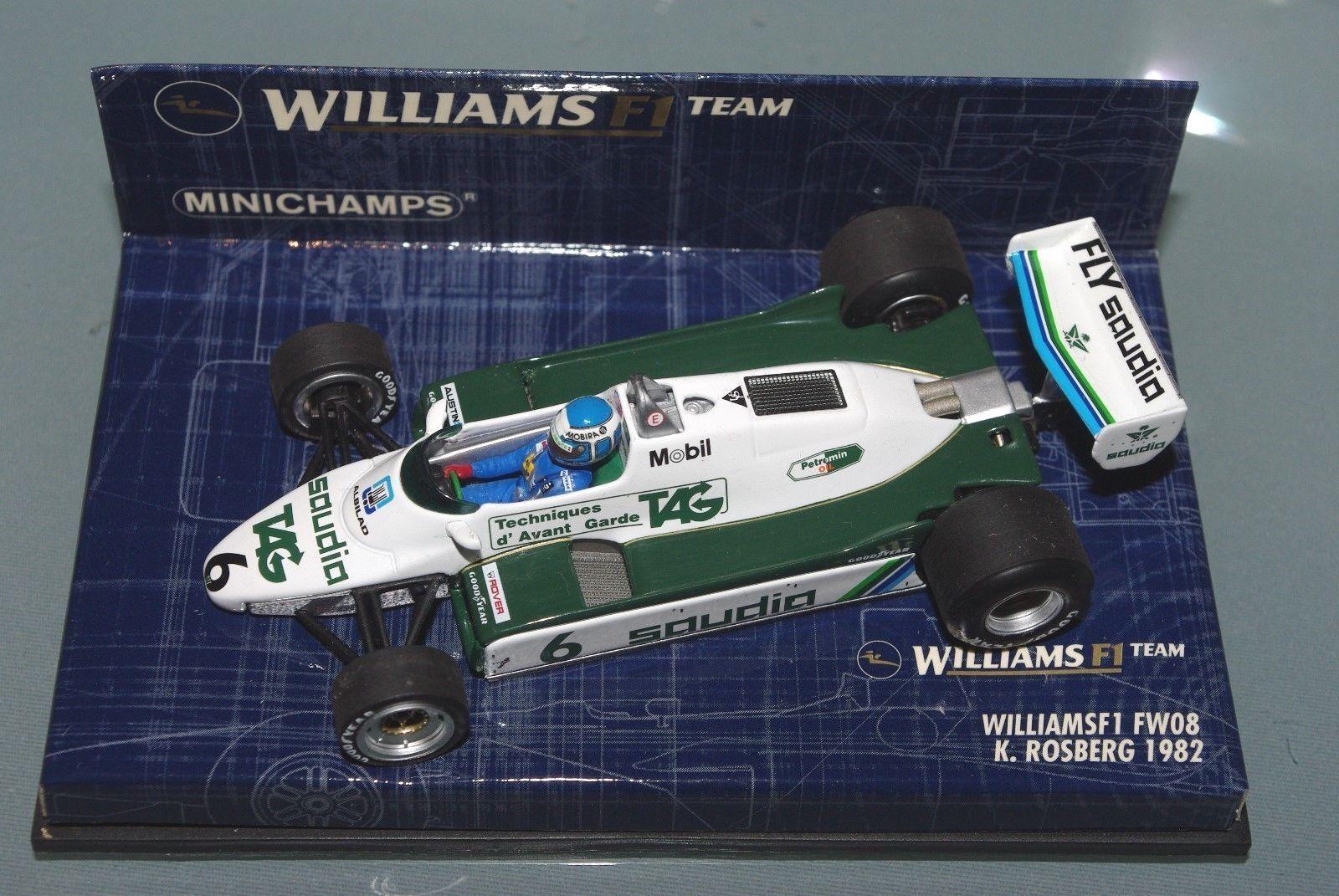 calidad auténtica Minichamps 1 43 F1 F1 F1 Williams FW08 Arabia Tag-Keke Rosberg-campeón mundial de 1982  barato