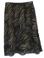 Jones York Multicolor Print Ruffle Silk Skirt Size 2p 2 Petite $99