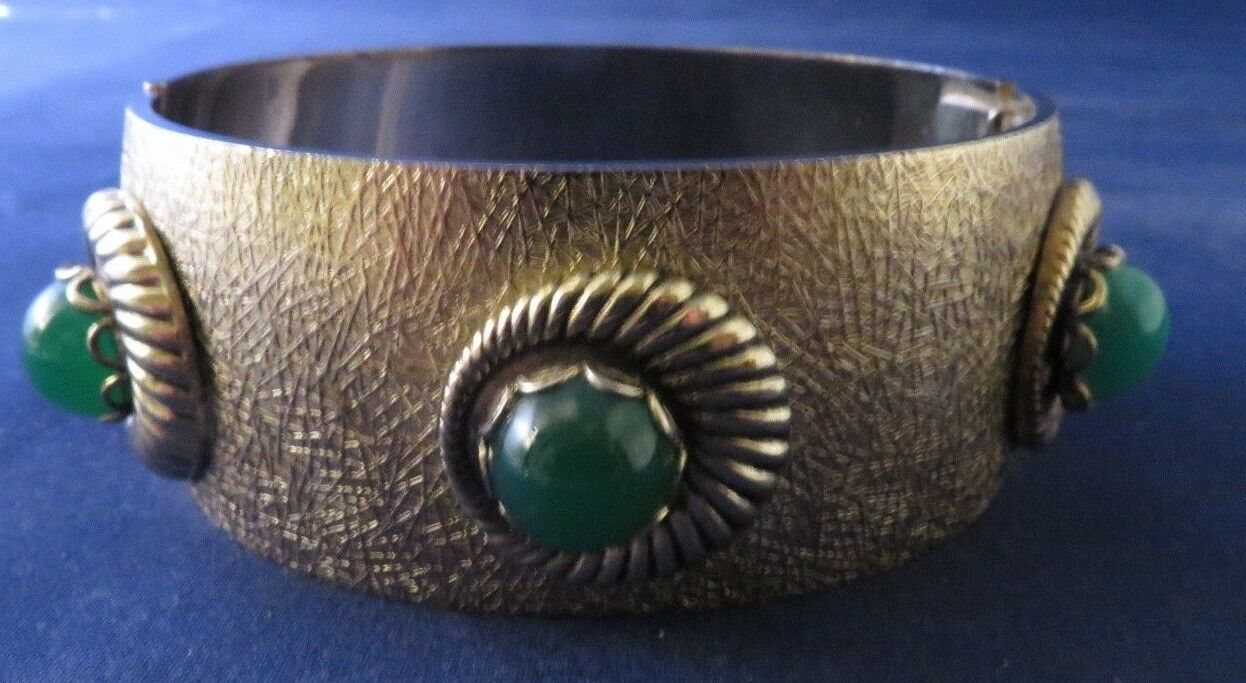 Whiting & Davis - gold Tone Green Cabochon Stones Hinged Bracelet
