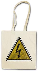 CAUTION HIGH VOLTAGE SIGN HIPSTER BAG - Stofftasche Stoffbeutel - Warning AC/DC