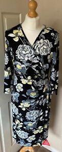 Joe-Browns-14-Floral-Faux-Wrap-Dress-Black-Grey-Lemon-New-amp-Taged