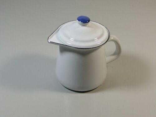Email Emaille Kanne Kännchen Milchkännchen mit Deckel 0,4 L Dekor Weiß Landhaus