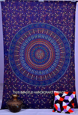 Blue Indian Mandala Hippie Twin Size Wall Hanging Tapestry Beach Throw Bedspread