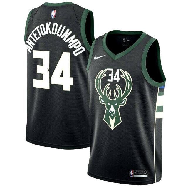 Outerstuff Giannis Antetokounmpo Milwaukee Bucks #34 Black Youth Alternate Replica Jersey