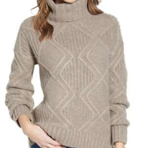 Caslon-Women-Chunky-Cable-Knit-Turtleneck-Sweater-Solid-Gray-Sz-Med-Large-NWT