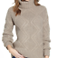 miniature 1 - Caslon-Women-Chunky-Cable-Knit-Turtleneck-Sweater-Solid-Gray-Sz-Med-Large-NWT