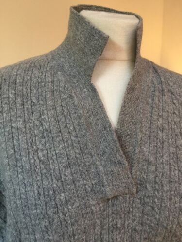 Grey Pullover Caron' Lambswool Jumper 'loch M Cabled Sweater Preloved WnERFUSX