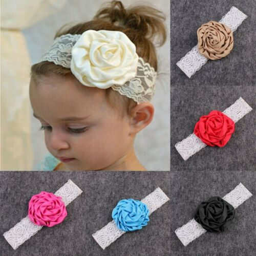 Cute Newborn Toddler Kids Baby Girl Lace Rose Flower Headband HairBand Headwear