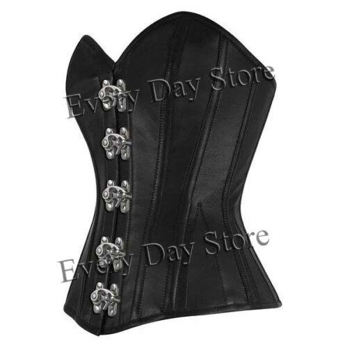 Genuine Leather Overbust Waist Trainer Women/'s Steel Boned Claps Black Corset