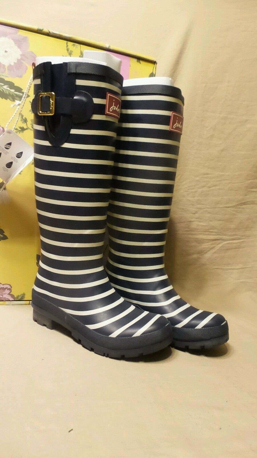 moda Donna  joules welly print flag French Navy stripe stivali stivali stivali Dimensione 6  ottima selezione e consegna rapida