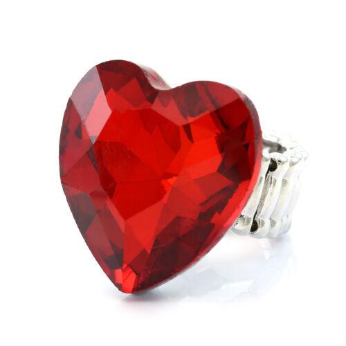 Mères Jour St Valentin Be Mine love cœur rouge réglable Stretch Band Ring
