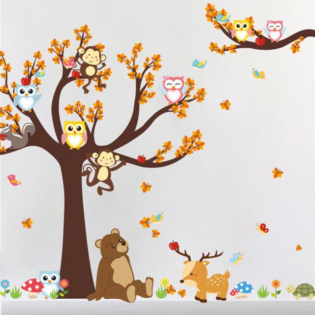 Jungle Animals Monkey Owl Tree Wall Stickers Nursery Kids Art Decor Mural Decal