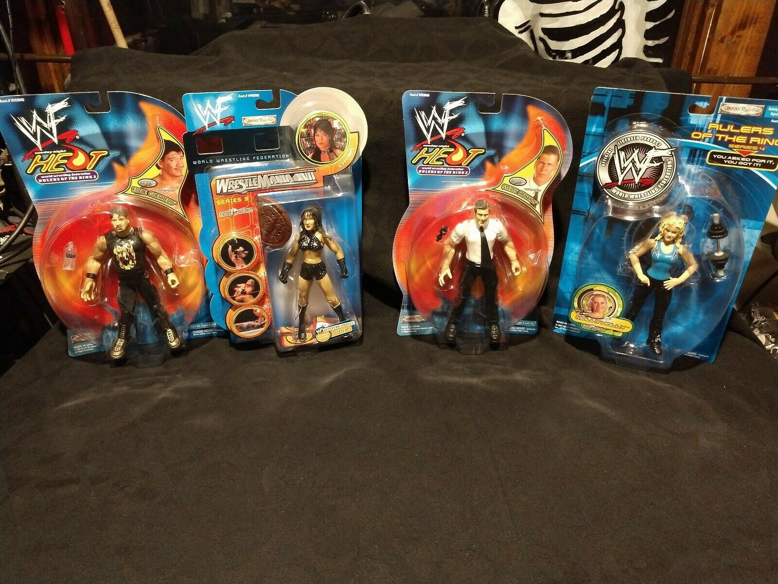 NEW WWF WWE Lot of 4 action figures Chyna, Eddie Guerrero, Molly Holly, Richards