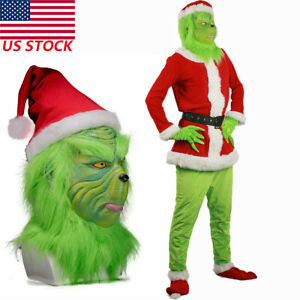 Details about The Grinch Costume Cosplay How the Grinch Stole Christmas  Prop + Mask Halloween