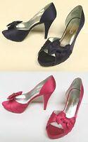 "MICHAELANGELO ""MARIBELLE"" WOMEN'S SATIN PUMPS SHOES OPEN TOE FORMAL BRIDESMAID"