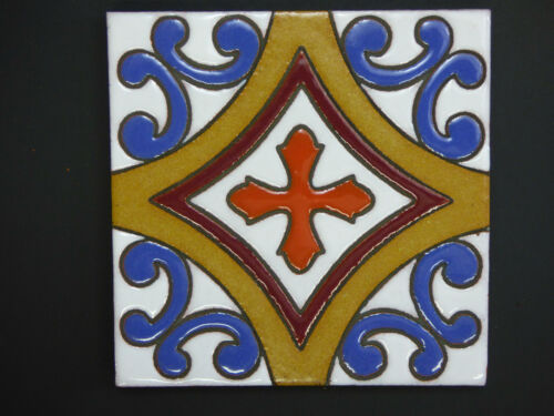 """5/""""X5/"""" 12 PC Hand Painted Mexican Talavera Clay Indoor Outdoor Accent Mural Tile"""
