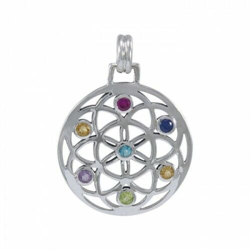 Flower Of Life gemstone Sterling Silver Pendant by peter stone Fine Jewelry