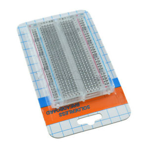 Mini Universal Clear Solderless Breadboard 400 Contacts Tie-points Available MT