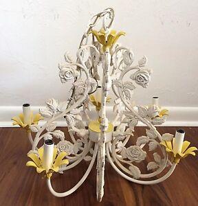 Italian-Tole-Cast-Iron-Chandelier-white-5-arm-chandelier-vintage-lighting