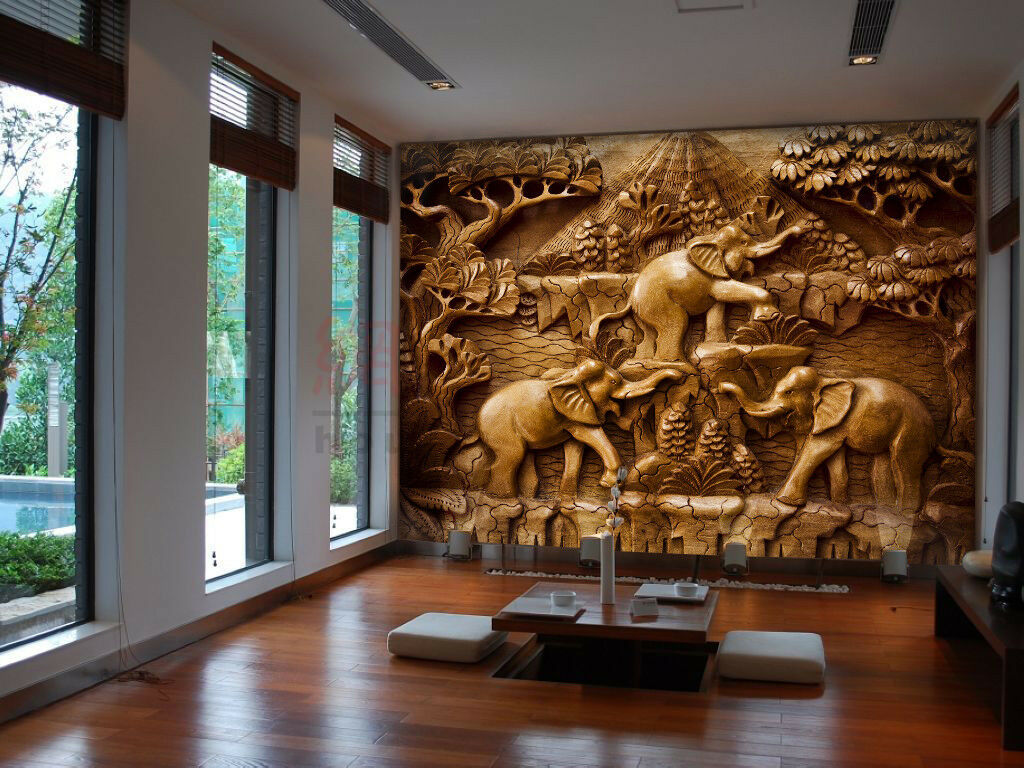 3D Elephant Carved 8 Wall Paper Murals Wall Print Wall Wallpaper Mural AU Summer