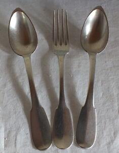 2-Loeffel-1-Gabel-Massiv-Silber-Poincon-Vieillard-250-Gramm