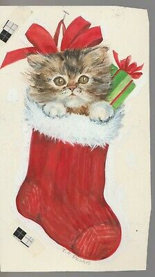 """Other Original Comic Art Kitten Cat In Stocking 3.75x6.5"""" #852c Christmas Greeting Card Art Attractive Appearance"""