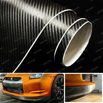 """Black 3D Dry Carbon Fiber Vinyl Sheet Film Bubble Free Air Release - 12"""" x 60"""""""