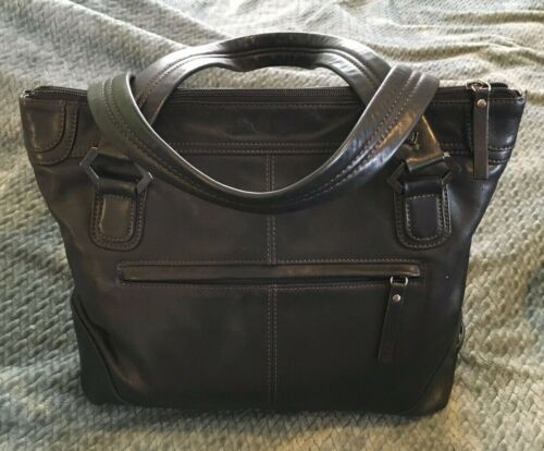 EILEEN WEST Black Leather Tote Bag Purse-VERY NICE