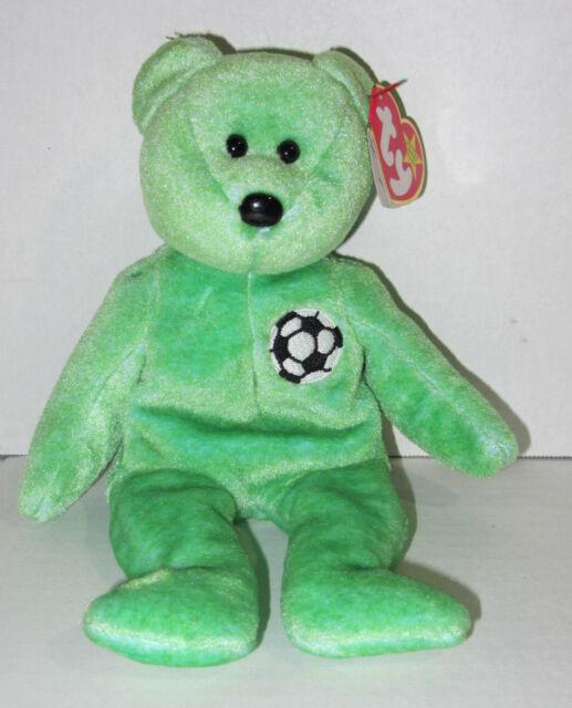 Ty Beanie Babies KICKS The Bear Soccer Ball Tag Errors 1998 Retired New