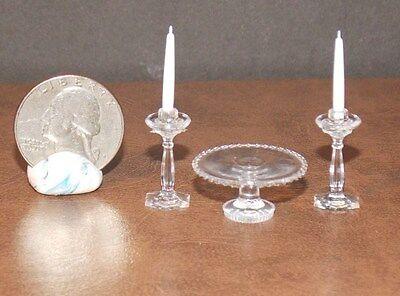 Dollhouse Miniature Chrysnbon Plastic Clear Cake Plate with Candlesticks CB70C