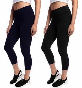 Kirkland Signature Women's Reflective Crop Leggings Stretch Fabric Pocket
