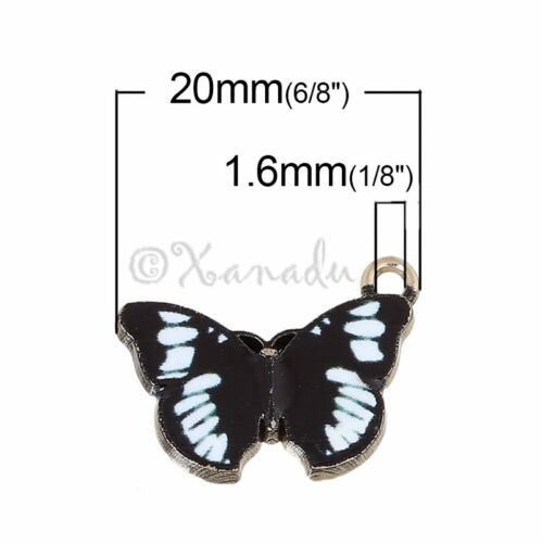 Black Butterfly Wholesale Gold Plated Enamel Charms C2587-2 5 Or 10PCs