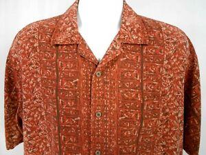 Geoffrey-Beene-Men-039-s-Size-XL100-Silk-Shirt-Short-Sleeve-Rust