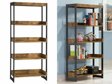 Estrella Industrial Bookcase Gunmetal Metal 4 Display Storage Open Wood Shelves