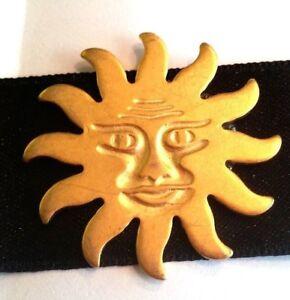 Black-Satin-Choker-with-Gold-Tone-Metal-Sun-New-Old-Stock