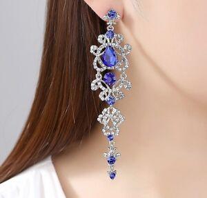 Image Is Loading Silver Blue Chandelier Crystal Long Earrings Wedding Bridal