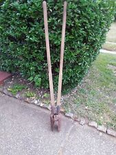 OLD FARM TOOL - FUNCTIONAL MANUAL POST HOLE DIGGER - WOOD HANDLES - RUSTY - 58""