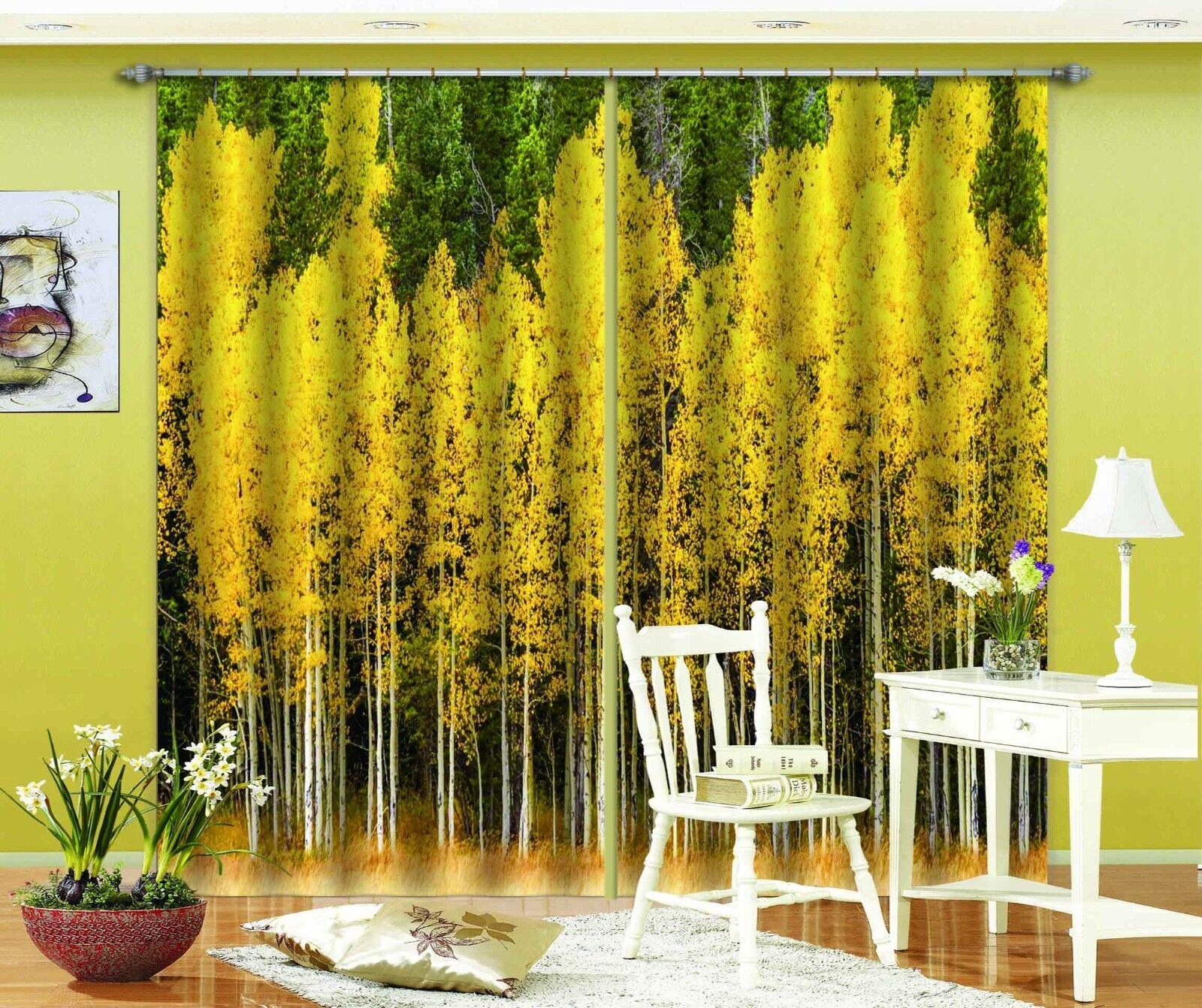 Árbol de oro 3D 234 Cortinas de impresión de cortina de foto Blockout Tela Cortinas Ventana Reino Unido