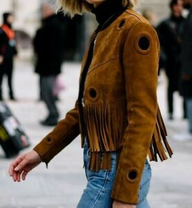 Women-039-s-Handmade-Traditional-Western-cowboy-Suede-Leather-Fringed-Brown-Jacket