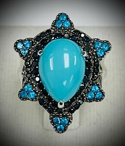 Meher-039-s-Jewelry-6-90-ctw-Pear-Turquoise-Apatite-amp-Black-Spinel-Gemstone-Ring-SS