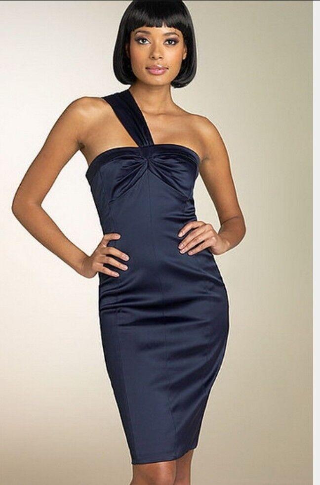 David Meister Womens One Shoulder navy bluee Dress Size 8