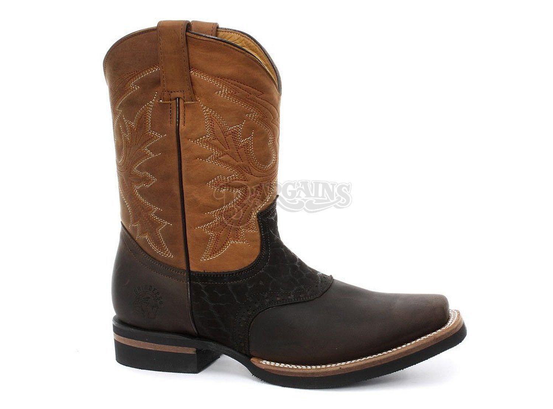 Grinders Frontier Cuero Marrón Tostado Bota de cowboy botas frontal Puntera Cuadrada Antideslizante en