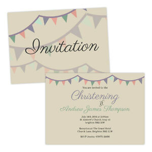 Personalised-Christening-invitations-PASTEL-BUNTING-VINTAGE-FREE-ENVELOPES-amp-DRA