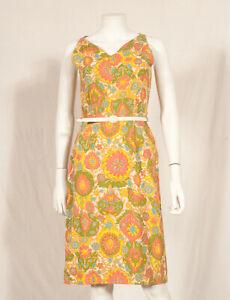 034-JOSSELYNE-034-annees-60-Francais-Vintage-Summer-Print-Dress-UK-6-8