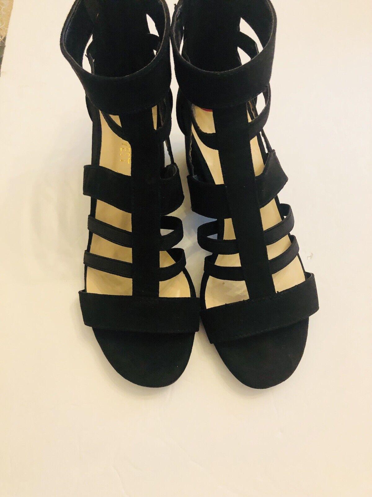 Nine West Womens Black Suede Strap Block Heels Size 6 Back Zipper