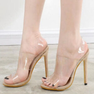 Women-Transparent-Clear-High-Heel-Shoes-Jelly-Sandals-Strappy-Open-Toe-Shoes-Sz