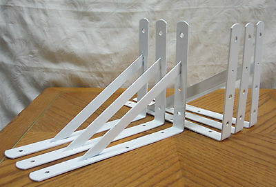 """500 Lb Metal Lot L Countertop 4 Heavy Duty White Steel 12"""" x 8"""" Shelf Brackets"""