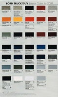 2001 Ford Truck Color Chart Chip Paint Sample Brochure:pickup,explorer,ranger,