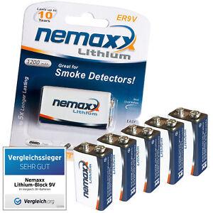 5x-9V-Lithium-Block-Batterie-von-Nemaxx-ER9V-E-Block-im-Blister-fuer-Rauchmelder